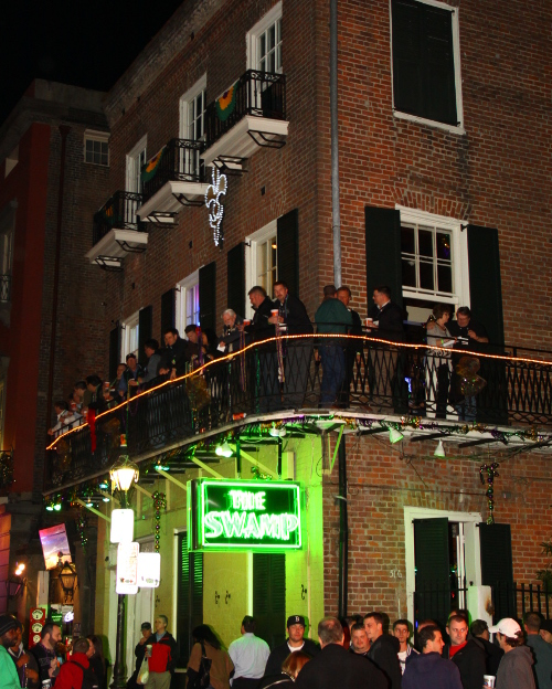 Swamp on Bourbon Street balcony party