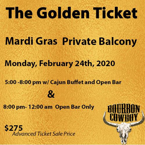 Best Bourbon 2020 MG Golden Ticket 2/24(5pm 12am)   Bourbon' Best BarsBourbon' Best Bars