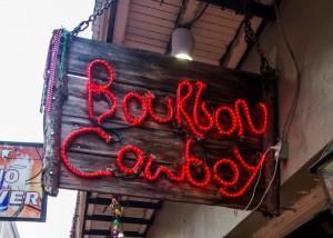 bourbon cowboy sign